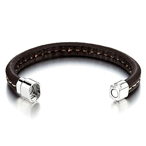 Bracelet en Brun Cuir Homme Femme - Véritable Cuir - Envelopper Bracelet - Fermoir Aimanté