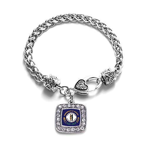 Inspired Silver - Kentucky Flag Braided Bracelet for Women - Silver Square Charm Bracelet with Cubic Zirconia Jewelry