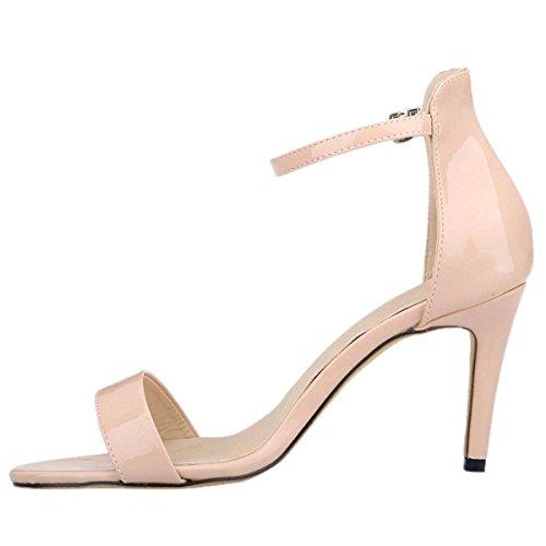 HooH Women's Peep Toe Ankle Strap Buckle Dress Sandals Nude 9q23ps7
