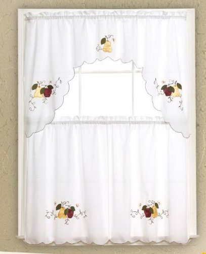 Curtains Ideas 36 inch cafe curtains : Amazon.com: Kitchen/Cafe Curtain Tier and Swag Set 3pc (White with ...