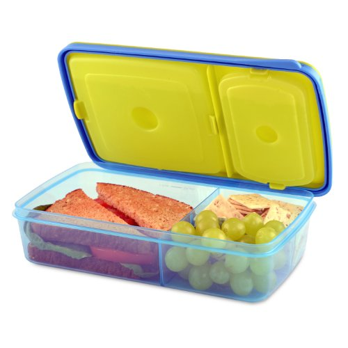 Fit & Fresh Kids' Reusable Divided Meal Carrier with Removable Ice Packs, Bento Box Lunch Container with 3 Food Storage Compartments, BPA-Free, Microwave/Dishwasher Safe, Assorted Colors (Sandwich Carrier)