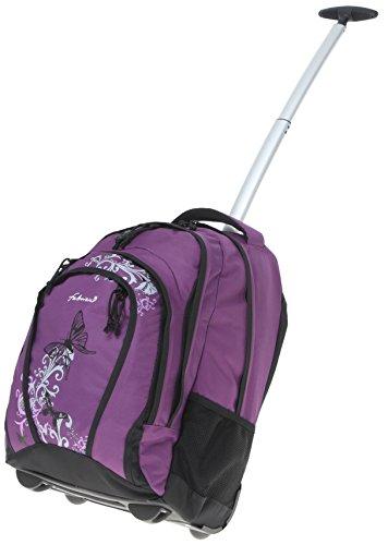 FABRIZIO ® Schultrolley CRUISER Schulrucksack Trolley + Trinkflasche CO2 / BEAUTY BUTTERFLY LILA