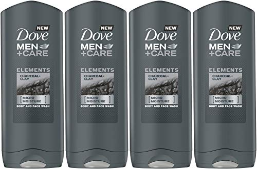 Dove Men+Care Elements Body Wash, Charcoal and Clay, 13.5 Ounce / 400 Ml (Pack of 4) Imported Version