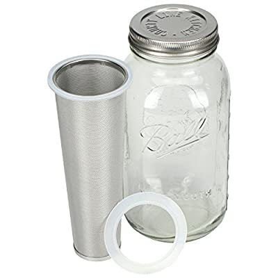 Cold Brew Coffee, Iced Coffee and Iced Tea Infuser, Mason Jar and Stainless Steel Filter