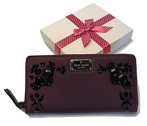 (Kate Spade New York Wilson Road Neda Zip Around Wallet WLRU3329 (Embellished Deep Plum))
