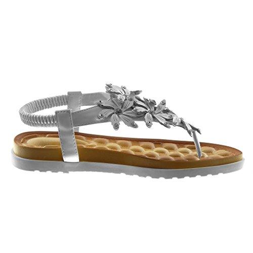 Moda Sandali Strass Infradito Cm Angkorly Donna Di Tacco Sneaker on Suola Piatto 5 2 Cinturino Fiori Borchiati Slip Scarpe Bianco REqqwUn5x