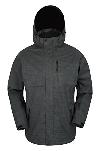 Mountain Warehouse Bracken Melange 3 in 1 Mens Jacket -Light Rain Coat Grey X-Large (Raincoat Patterned)