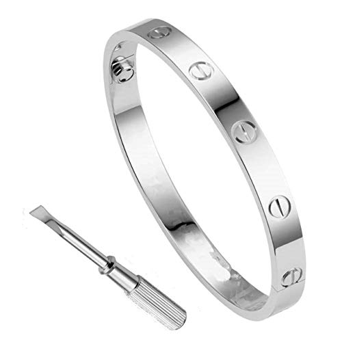 - Haoze Love Bangle Screw Bracelet with Screwdriver Stainless Steel for Valentines Wedding (Silver, 6.7)