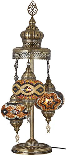 ((16 Colors) Demmex 2019-3 Big Globes Magnificent Handmade Turkish Moroccan Mosaic Tiffany Table Desk Bedside Lamp Lampshade Night Accent Mood Light for North American Use, 31