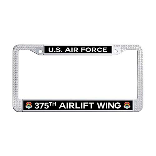 US Air Force 375th Airlift Wing License Plate Frame,White Rhinestones Auto License Cover Holder