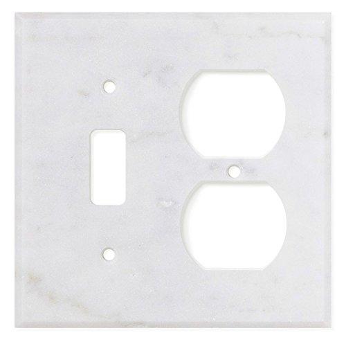 Italian Carrara White Marble Switch Plate Cover, Polished (TOGGLE DUPLEX)