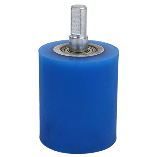 uxcell 10mm Dia Shaft 50mmx60mm Coating Machine Silicon Rubber Wheel Roller Blue by uxcell