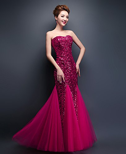Party Women Evening Strapless Formal Sequins Red Dresses Mermaid s Rosy Wedding Drasawee TY8WAcdZpY