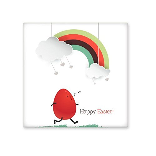 lovely Happy Easter Religion Christianity Festival Cute Red Colored Egg Rainbow Cloud Culture Illustration Pattern Ceramic Bisque Tiles for Decorating Bathroom Decor Kitchen Ceramic Tiles Wall Tiles