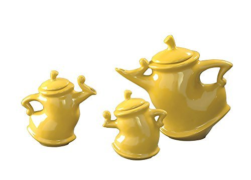 Howard Elliott 1885 3-Piece Canary Whimsical Decorative Tea Pots, Bright Canary Yellow (Whimsical Tea Sets)