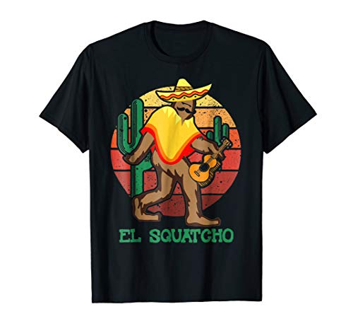 Mens El Squatcho Mexican Sasquatch Hide and Seek T-Shirt XL Black