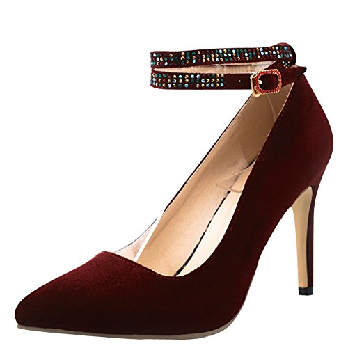 Mee Shoes Damen Stiletto Schnalle ankle strap Pumps Weinrot
