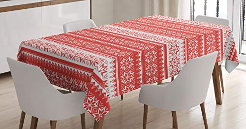 (Ambesonne Nordic Tablecloth, Norwegian Swedish Traditional Motifs Stitch Needlework Pattern Vintage Image, Dining Room Kitchen Rectangular Table Cover, 60