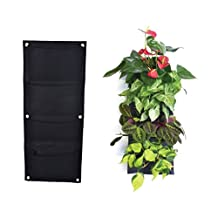 Moonguiding 4 Pockets Vertical Wall Garden Planter-Wall Mount Living Growing Bag Felt Indoor/Outdoor Pot