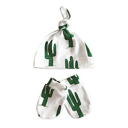 Green Cactus Organic Cotton Newborn Baby Beanie & Mittens Set (2 Pack)