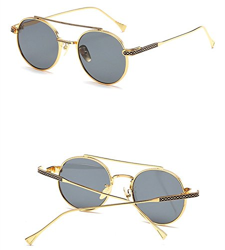 Gray Con Redondas Gafas Gafas Sol Marcos De Colorido Metálicos Is Puente Estilo De Nasal Retro The Sol Gafas Box WHLDK q7RBStHH