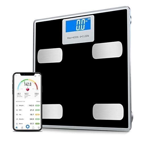 Toye Weight Scale Bluetooth Body Fat Scales Digital Weight Smart Bathroom Scale with iOS &Android and APP Monitor Body Composition Weight, Body Fat, BMI, Water, Bone, Muscle and More 400lbs