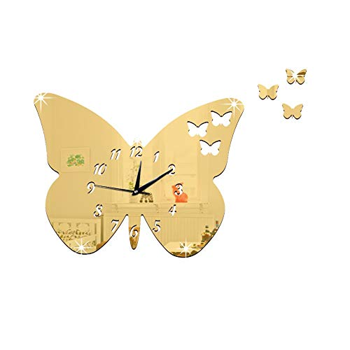 AKIMPE Wall Clock Silent Non Ticking Quartz Digital Large Round Decorative Glass Cover Modern Battery Operated for Living Room Home Office Bedroom Classroom Gold