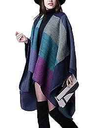 YACUN Women's Winter Reversible Oversized Blanket Poncho Wrap Shawl Scarf Purple F