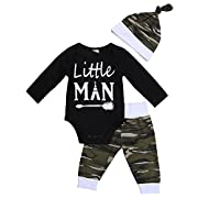 Sleezy 3Pcs Newborn Baby Boys Little Man Arrow Black Romper Bodysuit Hats Camouflage Pants Clothes Outfits (Tag 70/ 0-6 Months, Black&Camouflage)