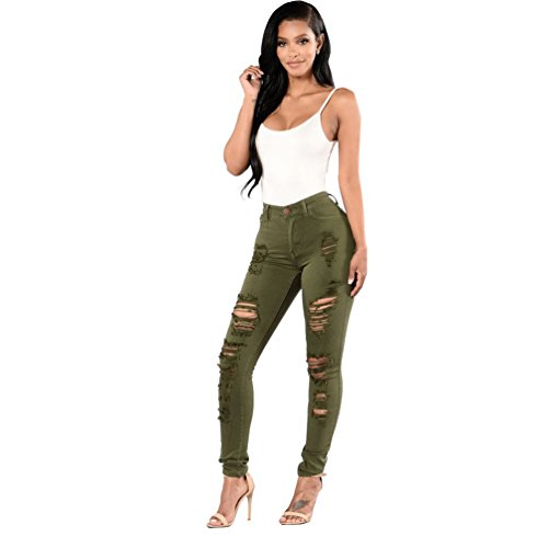 Sentao Femmes Casual Jeans  Trou Skinny Stretch Slim Fit Crayon Pantalons Arme Vert