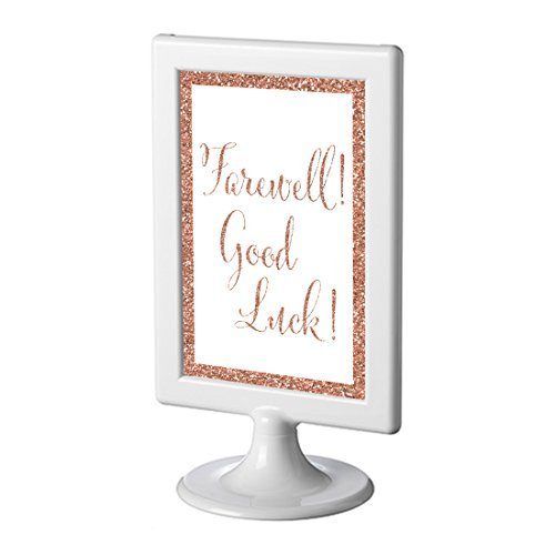 - Andaz Press Framed Retirement Party Signs, Rose Gold Glitter, 4x6-inch, Farewell! Good Luck!, 1-Pack, Copper Champagne Colored Decorations