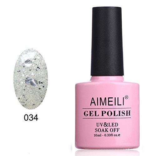 AIMEILI Soak Off UV LED Clear Glitter Gel Nail Polish - Marb