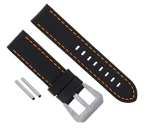 (22MM Leather Watch Band Strap for PANERAI GMT LUMINOR Marina Black Orange ST #3)