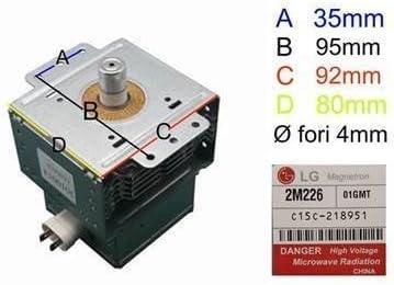 Magnetron LG 2m226para horno a microondas DeLonghi Samsung Whirlpool Smeg Rex