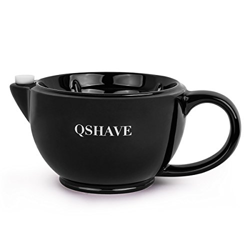 QSHAVE Shaving Scuttle Mug - Keep Lather Always Warm - Large Deep Size Bowl Handmade Pottery Cup (Black)