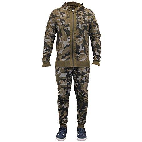 Uomo Mimetico Tuta Da Ginnastica Militare Maglia Con Cappuccio Pantaloni  Brushback Pile New - Mimetico - BC100 6ee47a6a2fc