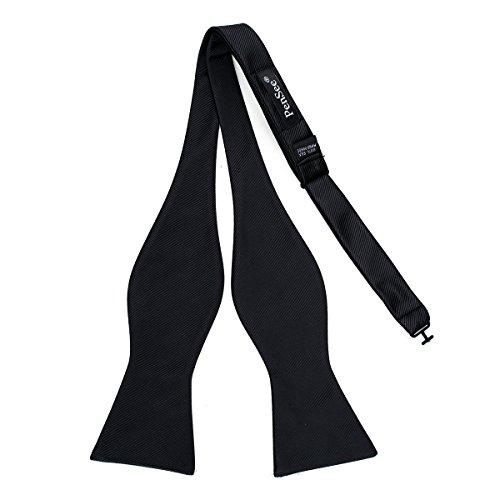 PenSee Mens 100% Silk Self Bowtie Adjustable Solid Black Plain Bow Ties for Formal