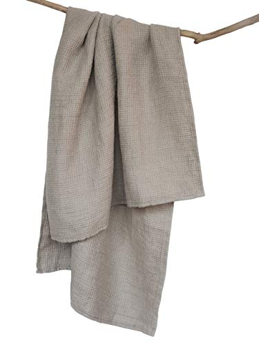 Bath Believe (Softened Washed Bath Linen Towel - Thick 100% Natural Linen Flax Tumble-Dried 28.5x53 Inch Gray Waffle Weave Stonewashed Quick Drying Shower Beach Body Cloth)