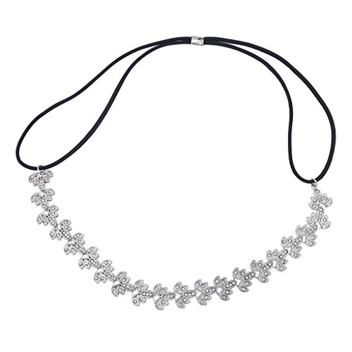 Lux Accessories Silver Tone Filigree Bridal Special Occasion Stretch Headband (Osters Anime)