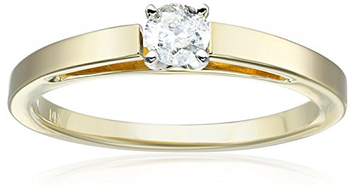 14k Yellow Gold Round Cathedral Solitaire Diamond Ring (1/4 cttw, H-I Color, I2-I3 Clarity), Size 7
