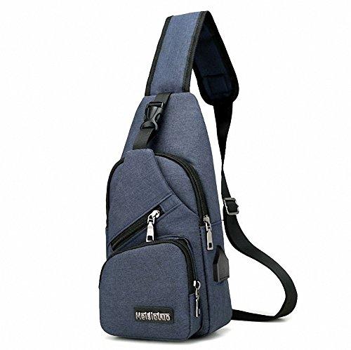 Bolso bandolera para hombre con carga USB de lona multiusos de gran capacidad, Azul oscuro, 17 * 32 * 7 cm
