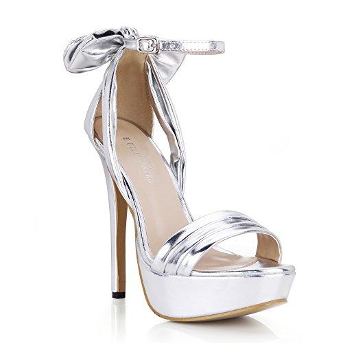 Dolphingirl Femmes Plateforme Noir Bowtie Haut Talon Sandales Dames Pompes Chaussures Prime Argent