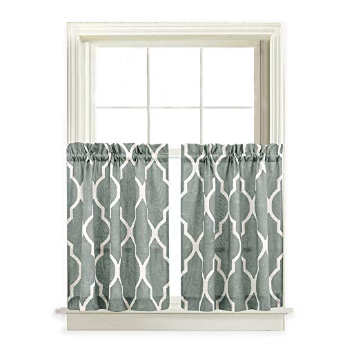 24 inch Long Tier Curtains Linen Blend Moroccan Tile Print Window Treatment Set One Pair Cafe Curtains