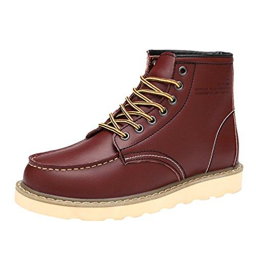 Hiver Neige Chaude De Bottines Rouge Chaussures Homme Chengyang Antidérapant Bottes Martin rxCoBde