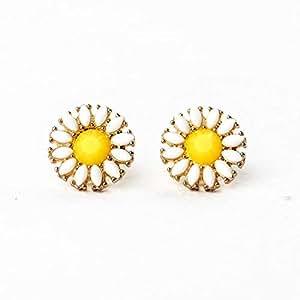 1 pair fashion cute small lovely sunflower stud earrings for women
