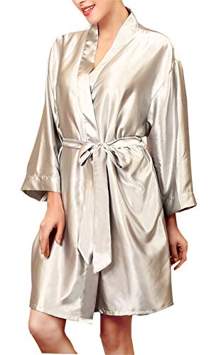 - onlypuff Women's Satin Short Kimono Robe Solid Color Dressing Gown Bridal Party Robe Gray XL