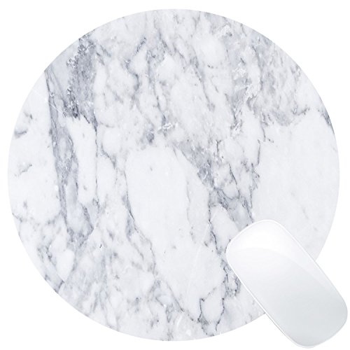 Wknoon White Marble Round Mouse Pad Mat