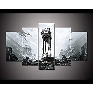 HAIYOUYOU Canvas Posters for Living Room Framework HD Prints Pictures 5 Pieces Star Wars Battlefront Movie Paintings Home Decor Wall Art -size1-With Frame