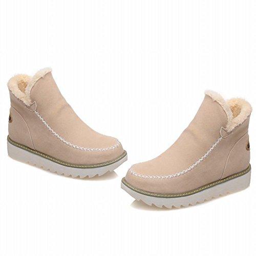 Carolbar Womens Warm Fashion Comfort Simple Snow Winter Winter Snow Boots Beige