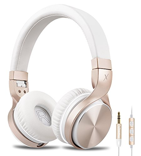 Riwbox IN5 Foldable Headphones with Microphone and Volume Control Stereo Folding Headset Strong Low Bass for iPhone iPad Smartphones Laptop Mp3/4 (White gold)